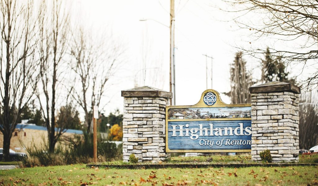 Highlands Neighborhood sign in Renton, Washington.